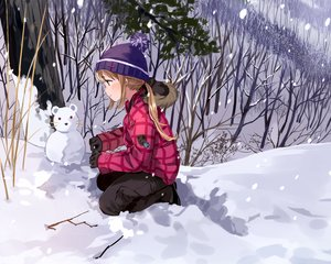 Rating: Safe Score: 6 Tags: gloves hat original ponytail snow snowman tagme_(artist) tree winter User: RyuZU