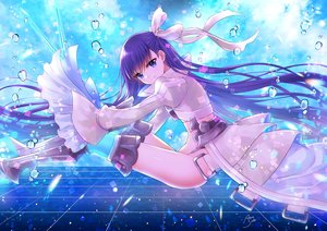 Rating: Safe Score: 50 Tags: armor blue_eyes bow bubbles fate/grand_order fate_(series) flat_chest long_hair meltlilith_(fate) nopan purple_hair ribbons sato_ame signed thighhighs underwater water User: otaku_emmy