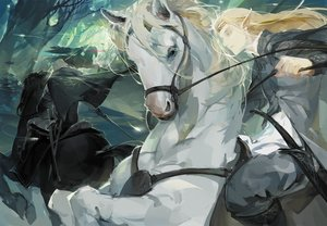 Rating: Safe Score: 56 Tags: all_male animal blonde_hair cape forest headband horse long_hair male original pointed_ears rained sword the_hobbit tree weapon User: Flandre93