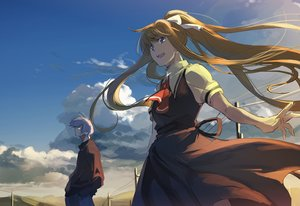 Rating: Safe Score: 63 Tags: air blonde_hair blue_eyes clouds hanno jpeg_artifacts kamio_misuzu kunisaki_yukito long_hair male ponytail school_uniform sky User: Flandre93