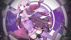 Rating: Safe Score: 74 Tags: boots dress long_hair polychromatic purple_eyes purple_hair sulfur_(1453rk) thighhighs vocaloid voiceroid yuzuki_yukari zettai_ryouiki User: luckyluna