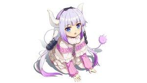 Rating: Safe Score: 51 Tags: aqua_eyes horns kanna_kamui kobayashi-san_chi_no_maid_dragon loli long_hair purple_hair tail twintails white yiku_(sim7368) User: gnarf1975