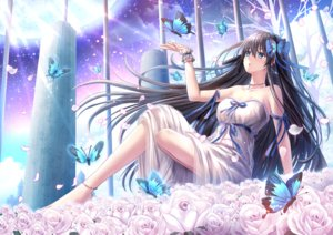 Rating: Safe Score: 53 Tags: aqua_eyes black_hair bow breasts butterfly flowers moon necklace original petals ribbons rose sky stars toshi_(1-147) wristwear User: BattlequeenYume