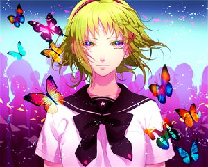 Rating: Safe Score: 39 Tags: butterfly green_eyes green_hair gumi kazari_tayu school_uniform short_hair vocaloid User: w7382001