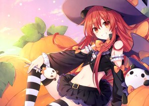 Rating: Safe Score: 43 Tags: animal animal_ears bear gradient halloween hat long_hair navel original panda pumpkin red_eyes red_hair scan shakeko_(tsunako) skirt thighhighs tsunako wings witch_hat zettai_ryouiki User: Nepcoheart