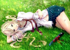 Rating: Safe Score: 104 Tags: blonde_hair blue_eyes grass long_hair minusion original petals skirt tie User: mihaela94