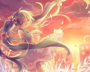 Rating: Safe Score: 48 Tags: dress flowers green_eyes green_hair hatsune_miku kuroi_(liar-player) petals twintails vocaloid User: Flandre93
