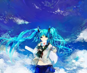 Rating: Safe Score: 55 Tags: aqua_eyes aqua_hair clouds hatsune_miku long_hair moemoe3345 seifuku sky twintails vocaloid User: PAIIS