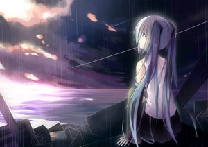 Rating: Safe Score: 55 Tags: dark hatsune_miku long_hair polychromatic rain tianya_beiming twintails vocaloid water User: humanpinka