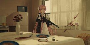 Rating: Safe Score: 71 Tags: apron chihuri405 flowers food gloves gun long_hair maid original pink_hair rose weapon User: RyuZU