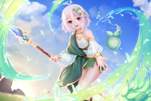 Rating: Safe Score: 79 Tags: blush chao_wu_xing_xian clouds flowers kokkoro pointed_ears princess_connect! purple_eyes short_hair sky staff white_hair User: BattlequeenYume