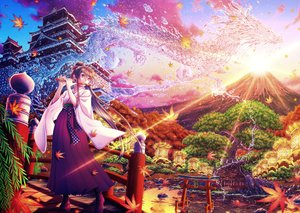 Rating: Safe Score: 52 Tags: autumn boots brown_hair building clouds dragon flute instrument japanese_clothes leaves long_hair magic orange_eyes original ponytail sky sunset tagme_(artist) torii tree water User: luckyluna