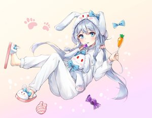 Rating: Safe Score: 56 Tags: animal_ears aqua_eyes bill1101112 blush bow bunny bunny_ears candy cat_smile gray_hair hoodie lollipop long_hair pajamas soul_worker stella_unibell twintails User: BattlequeenYume