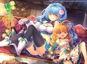 Rating: Safe Score: 74 Tags: 2girls blue_hair boots braids breasts capura_lin cleavage drink food long_hair original skirt thighhighs wink User: Flandre93