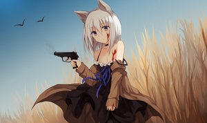Rating: Safe Score: 84 Tags: animal bird blood breasts brown_eyes catgirl choker cleavage dress gray_hair gun kinona_(kino10) original short_hair summer_dress weapon User: RyuZU