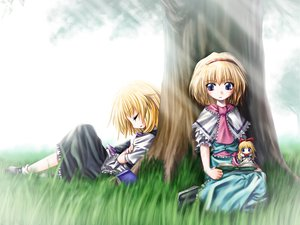 Rating: Safe Score: 21 Tags: 2girls alice_margatroid aozora_market blonde_hair blue_eyes book bow doll dress grass headband kirisame_marisa shanghai_doll short_hair sleeping socks touhou tree User: Oyashiro-sama