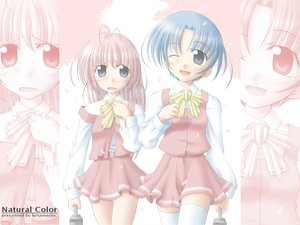 Rating: Safe Score: 0 Tags: blue_hair kiryu_naoto original petals pink_hair school_uniform User: Oyashiro-sama