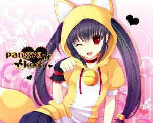 Rating: Safe Score: 94 Tags: animal_ears bell black_hair catgirl gloves kooh long_hair pangya red_eyes twintails wink User: Tensa