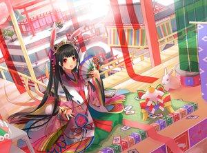Rating: Safe Score: 85 Tags: animal animal_ears black_hair bunny_ears bunnygirl fan hayama_eishi japanese_clothes kimono long_hair original rabbit User: opai