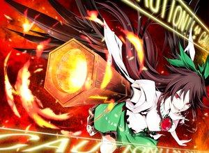Rating: Safe Score: 41 Tags: brown_hair fire kanaria_(artist) long_hair red_eyes reiuji_utsuho skirt touhou weapon User: Tensa