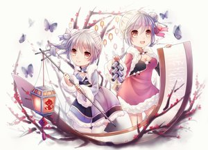 Rating: Safe Score: 81 Tags: 2girls anthropomorphism aurora breasts brown_eyes butterfly chinese_clothes cleavage dress flowers gray_hair ninghai paper pinghai ponytail short_hair thighhighs translation_request twins zhanjian_shaonu User: MyCuteImouto