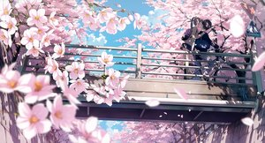 Rating: Safe Score: 157 Tags: 5_nenme_no_houkago bicycle brown_hair cherry_blossoms clouds cropped flowers kantoku kneehighs long_hair male petals ponytail scan scenic school_uniform short_hair skirt sky User: RyuZU