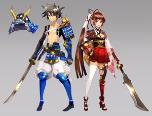Rating: Safe Score: 48 Tags: armor black_hair brown_hair japanese_clothes katana long_hair original ponytail red_eyes samurai short_hair spear sword weapon weed yellow_eyes User: STORM