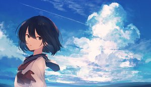 Rating: Safe Score: 57 Tags: clouds mifuru original school_uniform short_hair sky User: Dreista