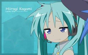 Rating: Safe Score: 79 Tags: aqua_hair blue blue_eyes cosplay headphones hiiragi_kagami long_hair lucky_star parody tie twintails vector vocaloid User: TomomiSuzune