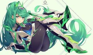 Rating: Safe Score: 47 Tags: armor blush bodysuit grandialee green_eyes green_hair long_hair pneuma_(xenoblade) ponytail xenoblade User: RyuZU