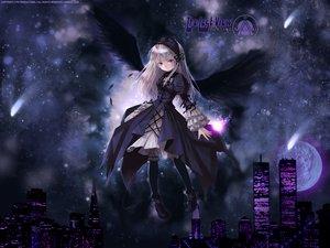 Rating: Safe Score: 20 Tags: gothic moon night pink_eyes rozen_maiden suigintou white_hair wings User: Oyashiro-sama