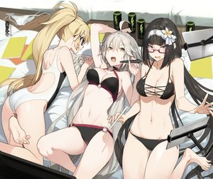 Rating: Safe Score: 109 Tags: akinashi_yuu ass barefoot bikini black_hair blonde_hair book breasts cameltoe cleavage fate/grand_order fate_(series) glasses gray_hair headband jeanne_d'arc_alter jeanne_d'arc_(fate) long_hair navel osakabehime ponytail red_eyes swimsuit yellow_eyes User: otaku_emmy