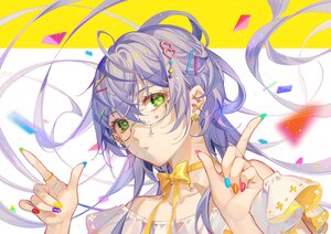 Rating: Safe Score: 39 Tags: bow choker close glasses green_eyes long_hair luo_tianyi purple_hair ribbons tidsean vocaloid vsinger User: BattlequeenYume