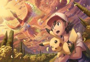 Rating: Safe Score: 16 Tags: all_male clouds feathers hat ho-oh ho-oh_(artist) male pikachu pokemon satoshi_(pokemon) sky User: C4R10Z123GT