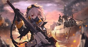 Rating: Safe Score: 147 Tags: boat clouds combat_vehicle gloves goggles gray_hair gun jname mask original red_eyes short_hair sky water weapon User: RyuZU