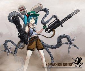 Rating: Safe Score: 105 Tags: bandaid blue_eyes blue_hair gloves goggles gun hat kawashiro_nitori navel shinebell short_hair shorts touhou twintails weapon User: STORM