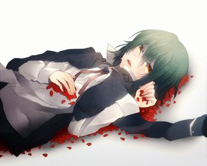 Rating: Safe Score: 48 Tags: angel_beats! crying green_hair naoi_ayato petals tears User: HawthorneKitty