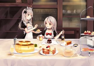 Rating: Safe Score: 70 Tags: 2girls animal_ears apron bow breasts cake chocolate cleavage drink food fruit gray_eyes headband headdress karin_(fineyanny) long_hair original pointed_ears strawberry white_hair yellow_eyes User: luckyluna