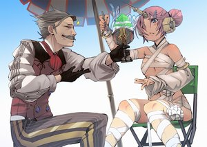 Rating: Safe Score: 37 Tags: bicolored_eyes charles_babbage fate/apocrypha fate/grand_order fate_(series) frankenstein fu-ta gloves gray_hair male pink_hair short_hair umbrella User: RyuZU