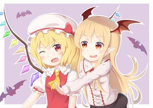 Rating: Safe Score: 22 Tags: 2girls animal bat blush bow crossover fang flandre_scarlet granblue_fantasy hat loli long_hair orange_eyes pointed_ears red_eyes rifuki short_hair touhou vampire vampy wings wink User: RyuZU