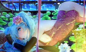 Rating: Safe Score: 17 Tags: aqua_eyes aqua_hair chinese_clothes chinese_dress flowers hatsune_miku long_hair twintails vocaloid xuanlin_jingshuang User: luckyluna