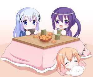 Rating: Safe Score: 26 Tags: ainsu blue_eyes blue_hair chibi drink food fruit gochuumon_wa_usagi_desu_ka? hoto_cocoa kafuu_chino kotatsu loli orange_(fruit) orange_hair purple_eyes purple_hair short_hair sleeping tedeza_rize tippy_(gochiusa) User: Xionglongztz
