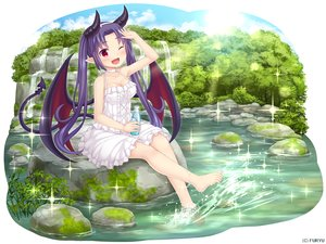 Rating: Safe Score: 28 Tags: barefoot blush breasts choker cleavage clouds dress drink forest headband horns long_hair monmusu_harem namaru_(summer_dandy) pointed_ears purple_hair red_eyes richelle_(monmusu_harem) sky summer_dress tail tree twintails water waterfall wings wink User: otaku_emmy