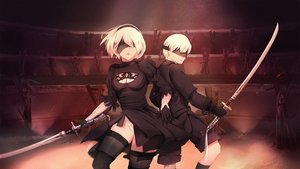 Rating: Safe Score: 53 Tags: blindfold breasts cleavage elbow_gloves gloves headband katana kneehighs kosumi leotard male nier nier:_automata short_hair signed sword thighhighs weapon white_hair yorha_unit_no._2_type_b yorha_unit_no._9_type_s User: RyuZU
