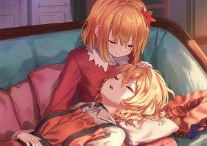 Rating: Safe Score: 28 Tags: 2girls aki_minoriko aki_shizuha aliasing blonde_hair couch orange_hair roke_(taikodon) short_hair sleeping touhou User: BattlequeenYume