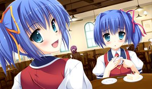 Rating: Safe Score: 59 Tags: blue_hair blush game_cg oshiete_ecchi_na_recipe pilky twins User: Wiresetc