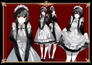 Rating: Safe Score: 51 Tags: apron black_hair headdress long_hair maid naru_(ul) original pantyhose polychromatic red red_eyes skirt_lift User: otaku_emmy