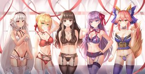 Rating: Safe Score: 177 Tags: animal_ears attila_(fate/grand_order) bb_(fate) blonde_hair bnari bra breast_hold brown_hair dark_skin fate/extella fate/extra fate/grand_order fate_(series) garter_belt gray_hair group kishinami_hakuno long_hair navel necklace nero_claudius_(fate) panties pink_hair purple_hair ribbons stockings tail tamamo_no_mae_(fate) thighhighs twintails underwear User: BattlequeenYume