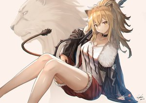 Rating: Safe Score: 42 Tags: animal animal_ears arknights blonde_hair candy catgirl choker ioriwu8 lion lollipop siege_(arknights) signed tail yellow_eyes User: BattlequeenYume
