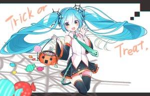 Rating: Safe Score: 71 Tags: aqua_hair halloween hatsune_miku long_hair twintails vocaloid yellow_eyes User: luckyluna